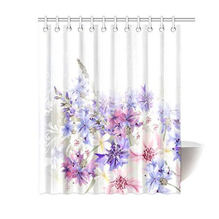 MYPOP Lavender Shower Curtain, Purple Pink Cornflowers Classic Design Gentle Floral Art Wedding Decorations Fabric Bathroom Decor with Hooks, 60 X 72 Inches, Violet Pink Grey