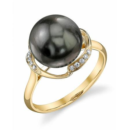 10mm Tahitian South Sea Cultured Pearl & Diamond Ruby Ring in 14K Gold Diamonds 10mm Tahitian Pearl Ring