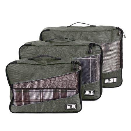 Unique Bargains 3pcs Ng Cube Travel Clothes Luggage Organizer Storage Mesh Bags Pouch S M L
