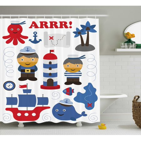 Ahoy Its A Boy Shower Curtain Sea Theme Objects Collection Fishes Ship Lighthouse Sailors Octopus