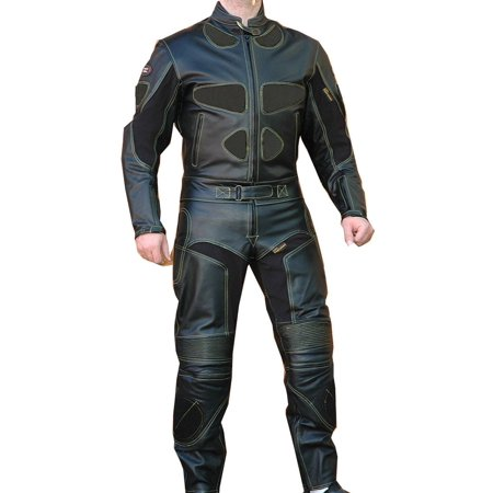 Perrini 2 PC Black Spine Protector Cowhide Motorcycle Leather Suit Race Suit with Night Visibility Stitching](Cow Suit)