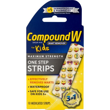 Compound W One Step Medicated Strips For Kids, Wart Removal, 10