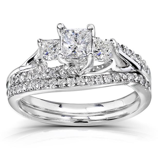 Princess Cut Diamond Bridal Set Ring 1 1/10 Carat (ctw) in 14k Gold