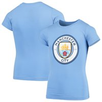 Manchester City Girls Youth Primary Logo T-Shirt - Light Blue