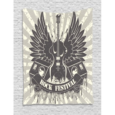 Rock Music Tapestry, Striped Background Instrument Wings Speakers Rock and Roll Design Hipster, Wall Hanging for Bedroom Living Room Dorm Decor, 40W X 60L Inches, Taupe Dust Cream, by - Rock And Roll Room Decor