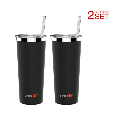 Holiday Season | 2 Pack SimpleHH Vacuum Insulated Coffee Cup | Double Walled Stainless Steel Tumbler with straw | Travel Flask Mug | No Sweating, Keeps Your Drink Hot & Cold| 22oz(650ml) | Black - Blacklight Cups