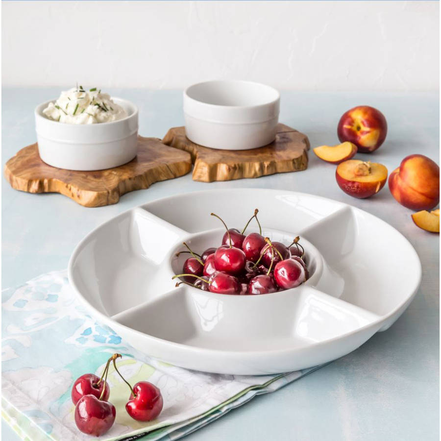 "Better Homes and Gardens 12"" Round Divided Tray with Ramekins, White"