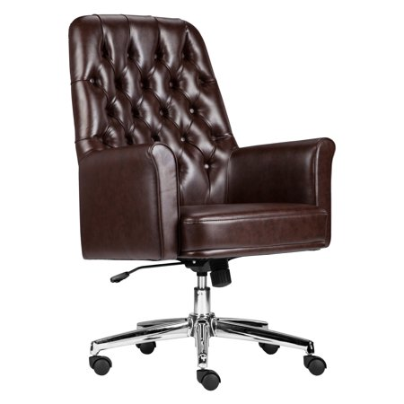 fa83621d451 Flash Furniture Mid-Back Traditional Tufted Black Leather Executive Swivel  Chair with Arms - Walmart.com