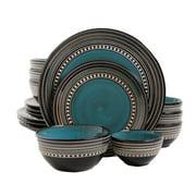 Gibson Elite Caf� Versailles 16 Piece Double Bowl Dinnerware Set - Blue