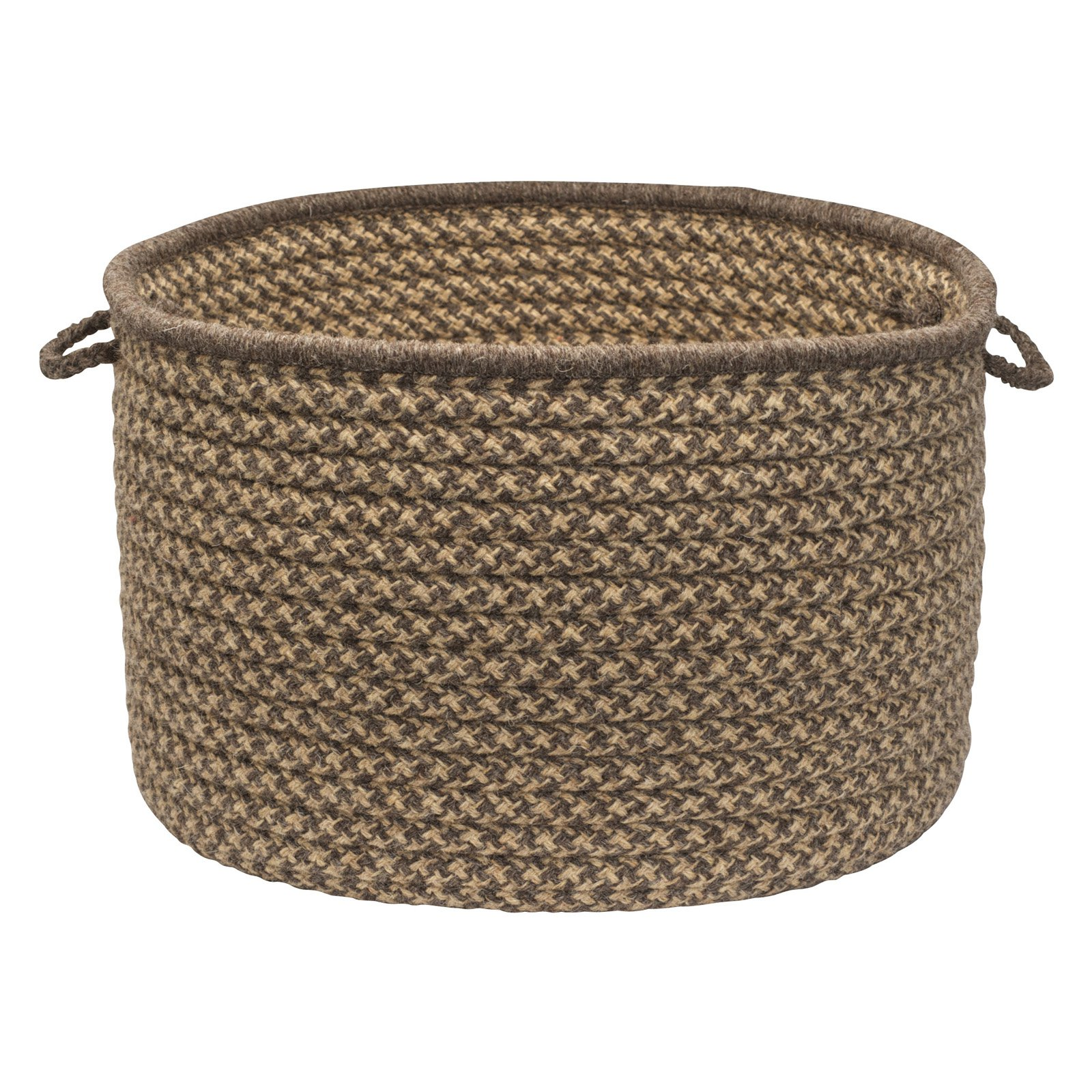 Colonial Mills HD34A018X018 Natural Wool Houndstooth Utility Basket - Caramel