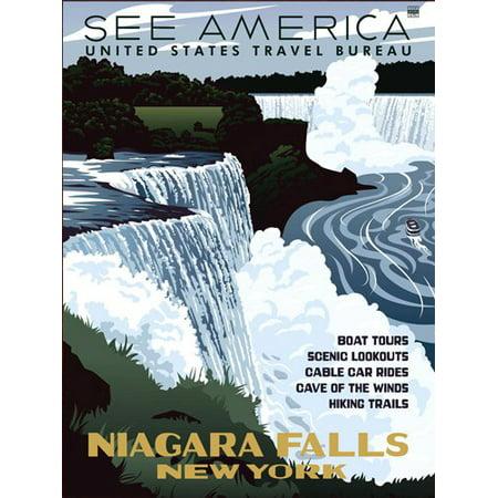 Vintage Art NIAGARA FALLS New York STICKER (ny rv visit)
