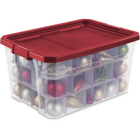 Sterilite 19-Gallon Stacker Ornament Box, Really Red