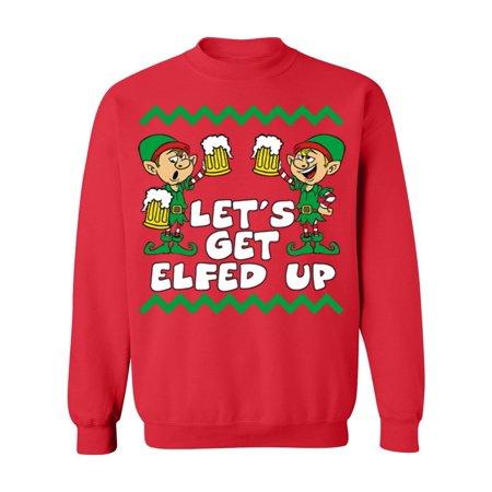 Get Elfed Up Funny Christmas Crewneck Sweatshirt, M, Red - Elf Promotion Code