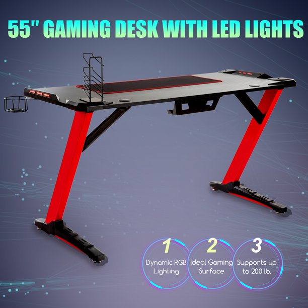 55 Computer Desk Gaming Desk W 6 Color Rgb Lighting For Home Office More Red Walmart Com Walmart Com