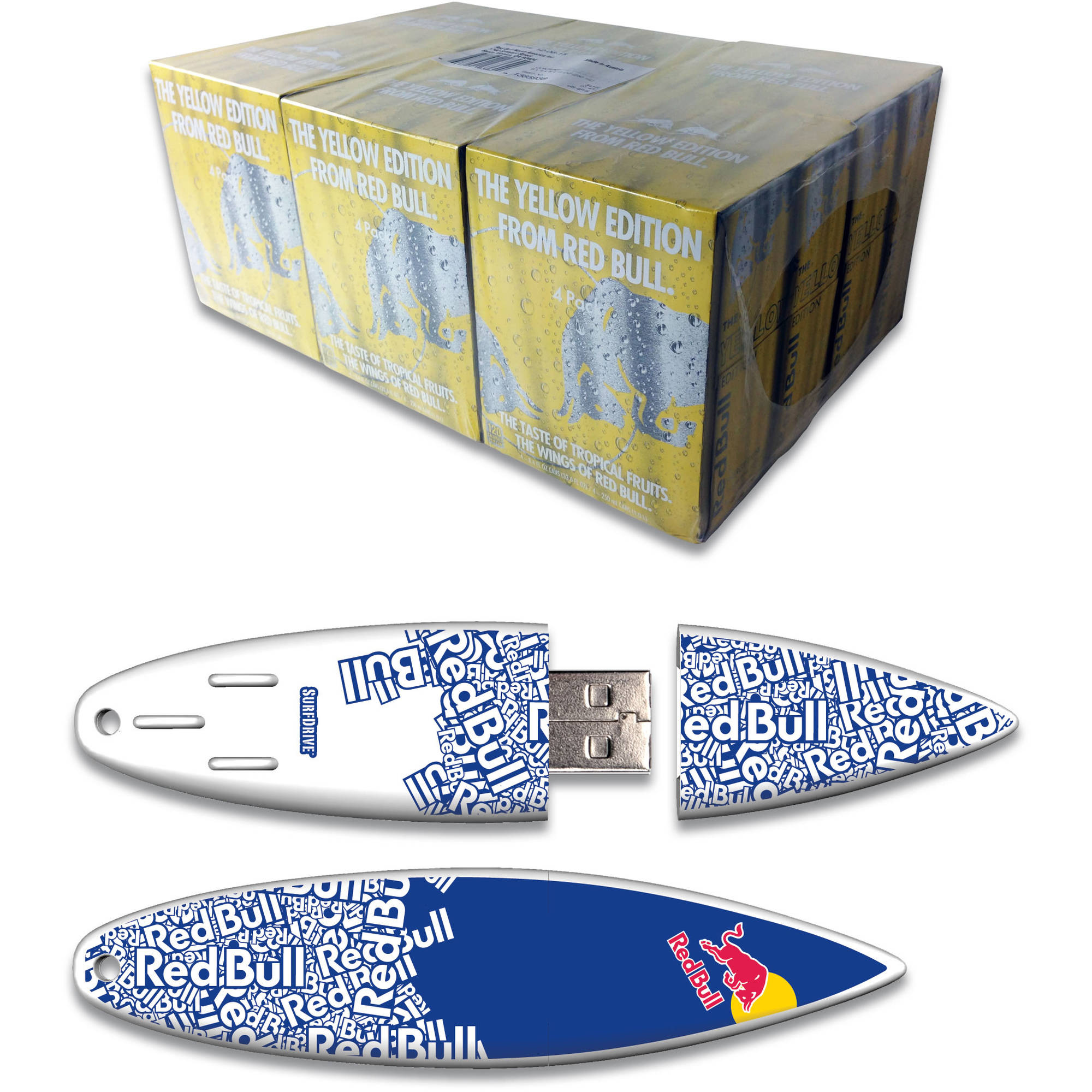 Red Bull 24-Pack 8.4-Ounce Yellow Edition Energy Drink and 8GB Blue Text USB SurfDrive