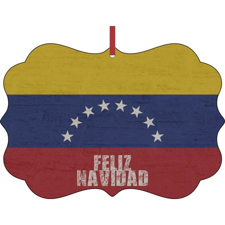 Venezuela Flag - Feliz Navidad Hanging Benelux Shaped Tree Ornament - (Flat) - Double Sided - Holiday - Christmas - Tm - Made in the USA ()