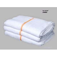 """GHP 60-Pcs 16""""x19"""" Terry Cloth White & Gold Stripe Janitorial Cleaning Rag Towels"""
