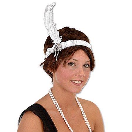 White Jeweled Flapper 20's Showgirl Costume Headband