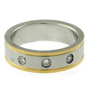 Gravity Gemeni Stainless Steel Two-tone Men's Cubic Zirconia Ring