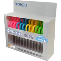 "Westcott 5"" Blunt Anti-Microbial Kids Scissors, 12 Pack, Assorted Colors"