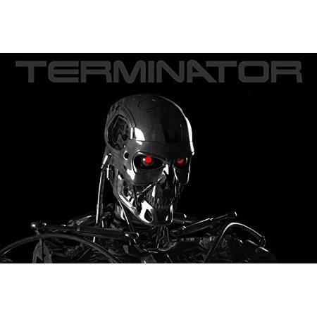 Terminator Skeleton Poster 24X36 Fierce Red Eyes Mechanical Skull