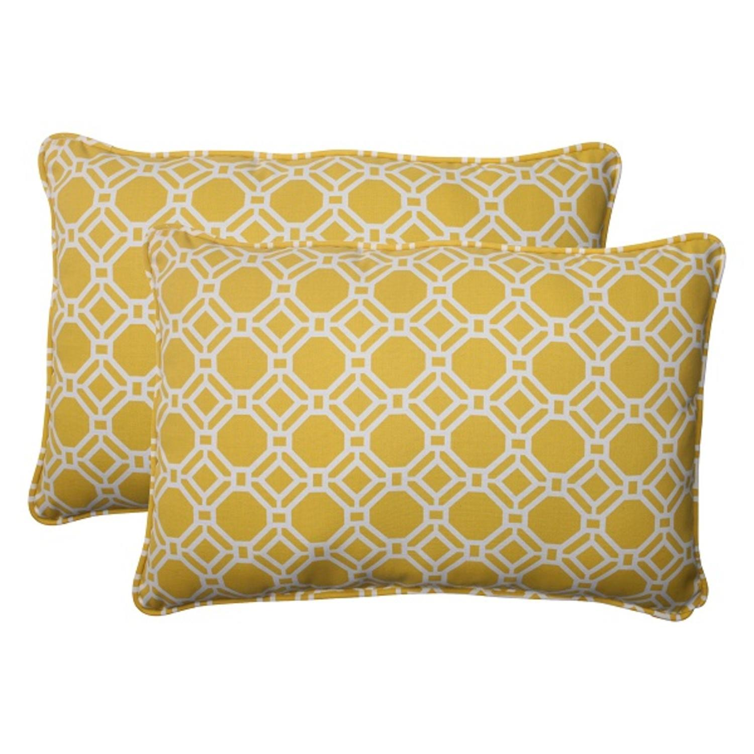 Set of 2 Sunny Yellow and White Rectangular Outdoor Patio Throw Pillows 24.5""