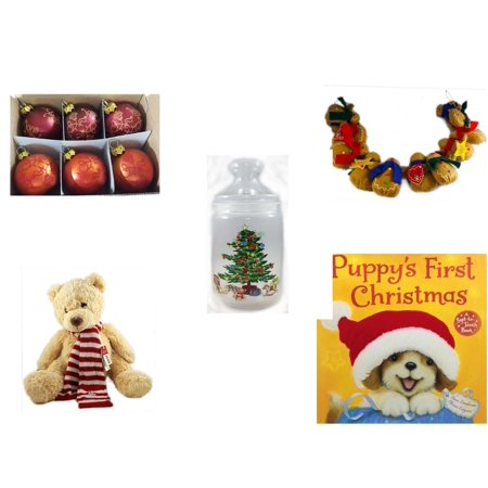 "Christmas Fun Gift Bundle [5 Piece] - Set of 6 Mini Glass Ball Ornaments 1.5"" - String of Gingerbread  w/ Wood Stars & Hearts 4.5"