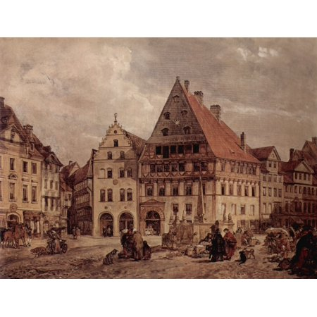 Framed Art for Your Wall Tacke, Ludwig Andreas Christian - Braunschweig, carbon market from the west with houses