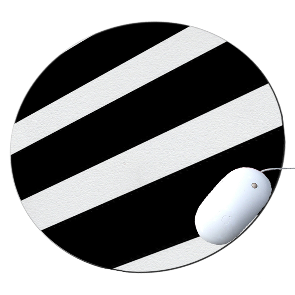 KuzmarK Round Mousepad / Hot Pad / Trivet - Black White Stripes