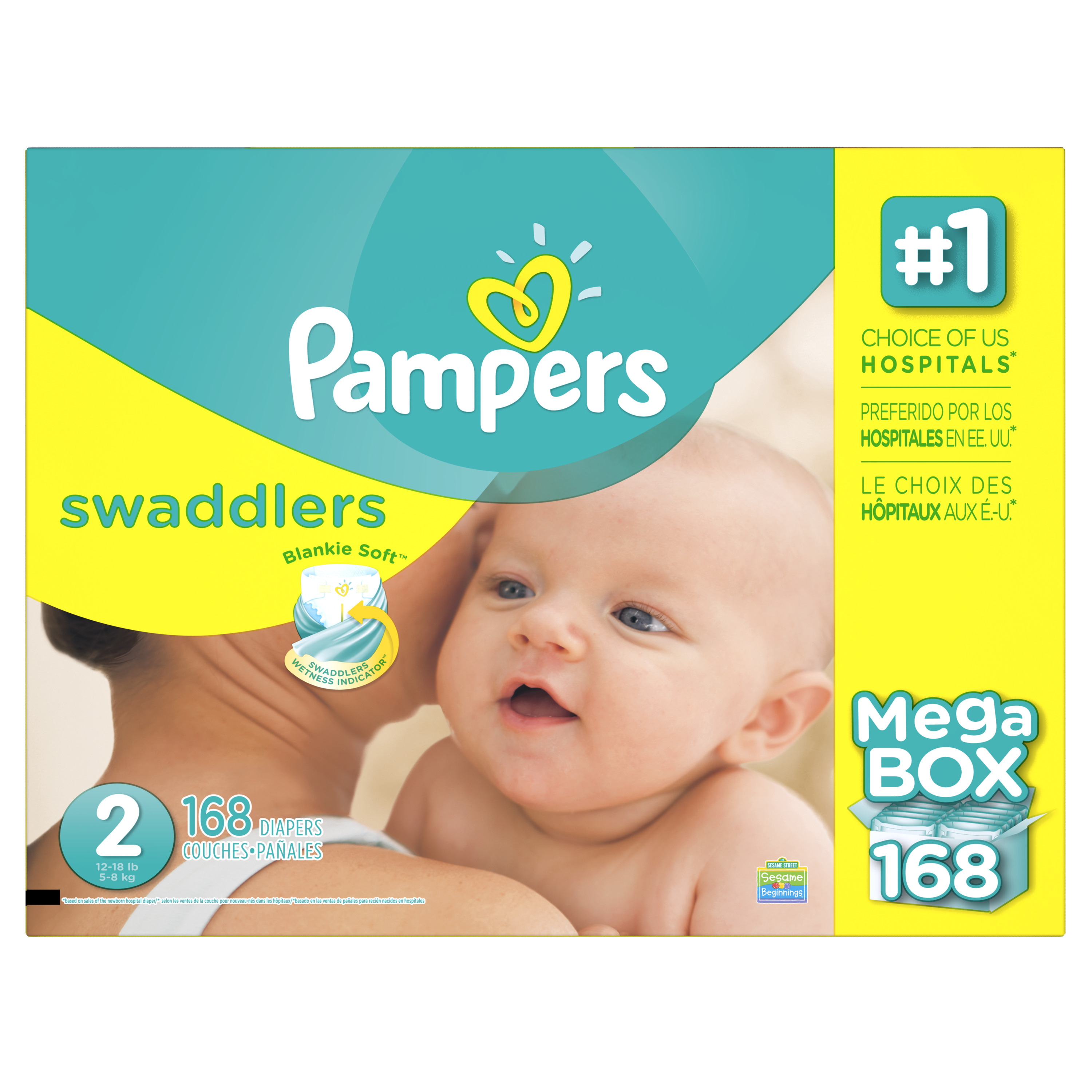 Product of 'Pampers' Swaddlers Size 2 Diapers; 168 ct. Bulk Qty, Free Shipping Comfortable, Soft, No Leaking &... by Branded Diapers