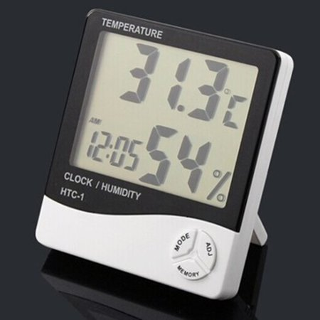 HTC-1 large screen home indoor electronic thermometer hygrometer alarm clock - image 7 de 9