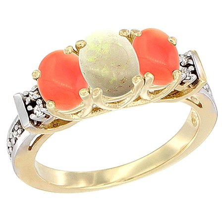 14K Yellow Gold Natural Opal & Coral Ring 3-Stone Oval Diamond Accent