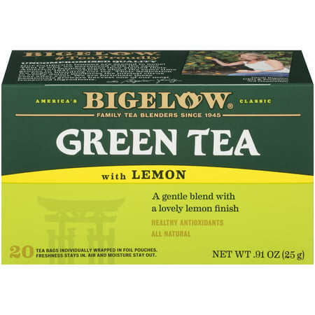 - (3 Boxes) Bigelow Green Tea with Lemon, Tea Bags, 20 Ct