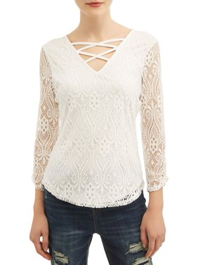 dc3d6454d6b2b Product Image Juniors  All Over Lace Caged V-Neck Long Sleeve T-Shirt