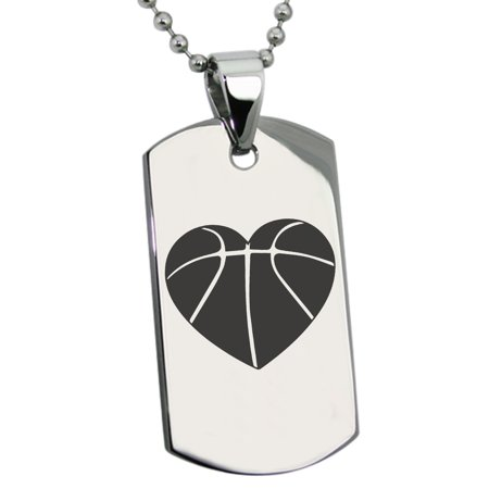 Stainless Steel Love Basketball Heart Engraved Dog Tag Pendant Necklace