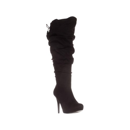 Womens TS35 Brisa Wide Calf Platform Knee-High Boots, Black