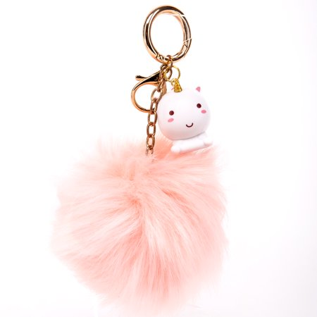 SMOKO Elodie Unicorn PomPom Keychain | Fluffy Faux Fur Ball | Cute Uni Pendant in Kawaii Japanese - Cute Keychains