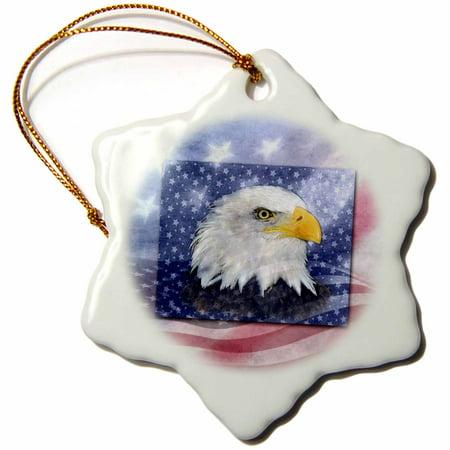 3dRose U.S. Flag and American Eagle, Snowflake Ornament, Porcelain, 3-inch