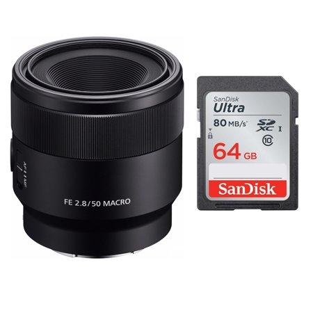 Sony SEL50M28 FE 50mm F2.8 Macro Lens & Sony 64 GB SD