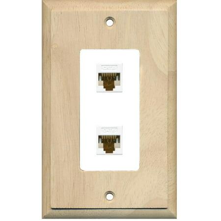 RiteAV Decorative 1 Gang 2 Port Cat6 Wall Plate Wood White