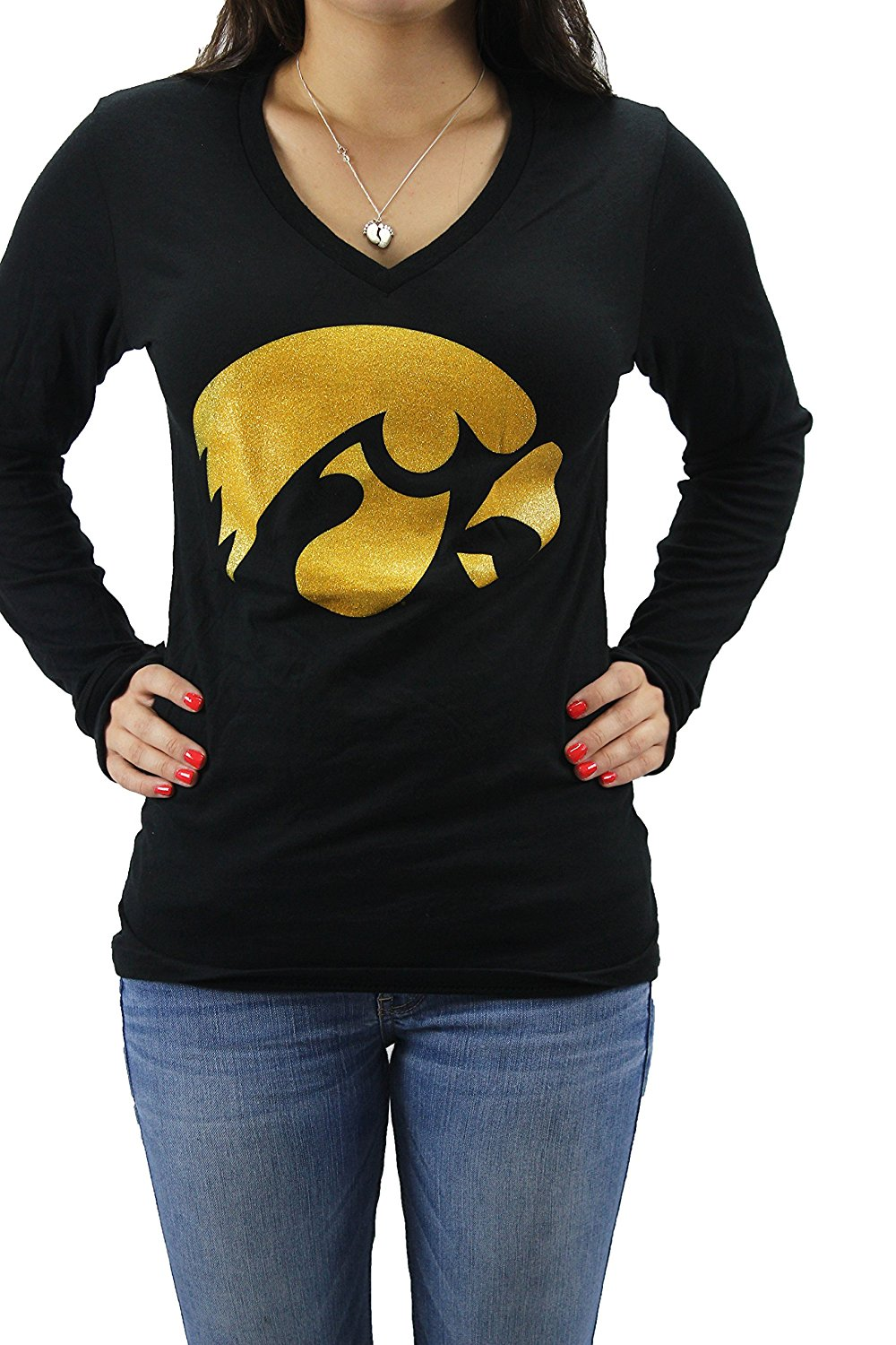 Pressbox Women' s NCAA Iowa Hawkeyes V-Neck Long Sleeve T-Shirt Large Logo Small, Officially Licensed Collegiate Product... by