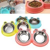 Dog Bowls Double Feeder, Pet Feeding Station, Stainless Steel Water and Food Bowls with Non-Slip Non Spill, Feeder Bowl for Small Medium Dogs Cats