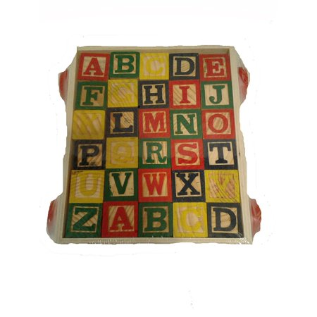 Follow Me Wooden Alphabet Block Set on Wheels With Pull Along String