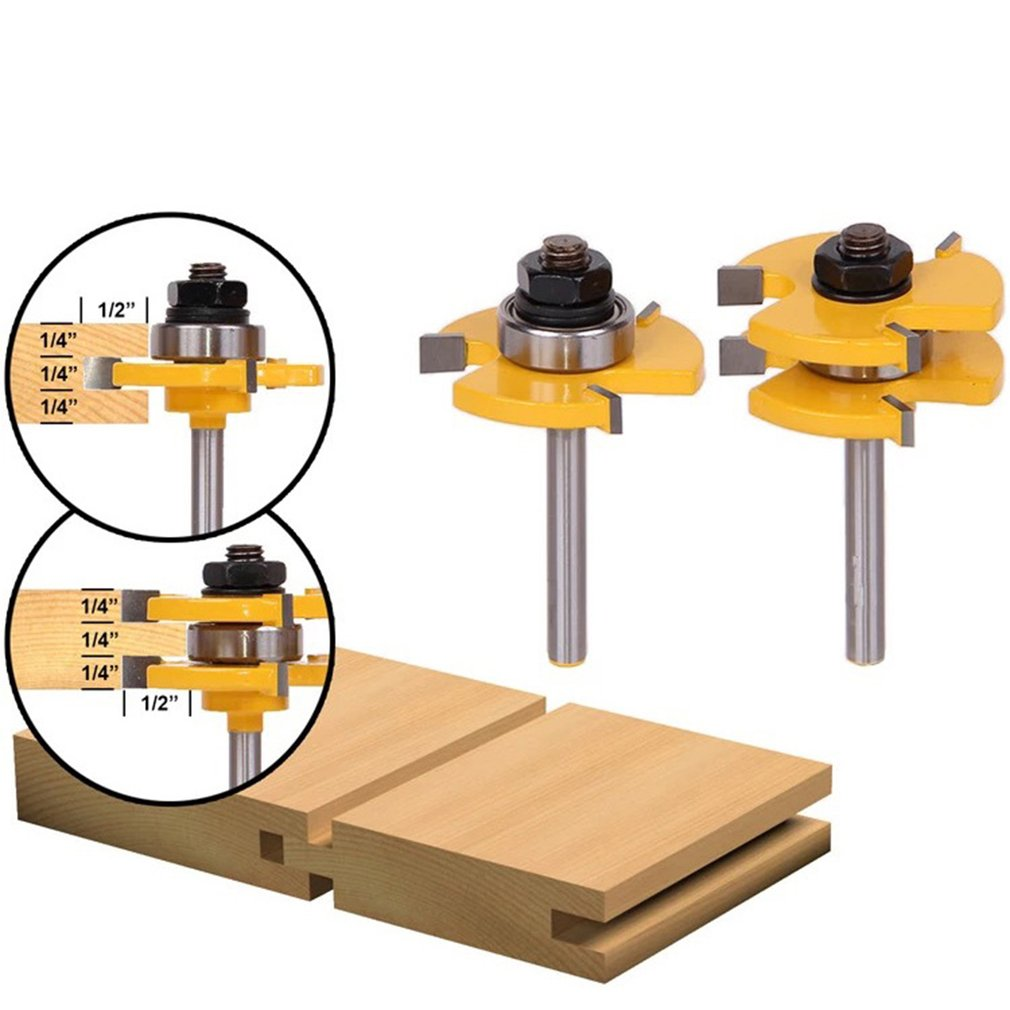 2pcs Set Alloy Matched Tongue Groove Router Bit Woodworking Tool Set