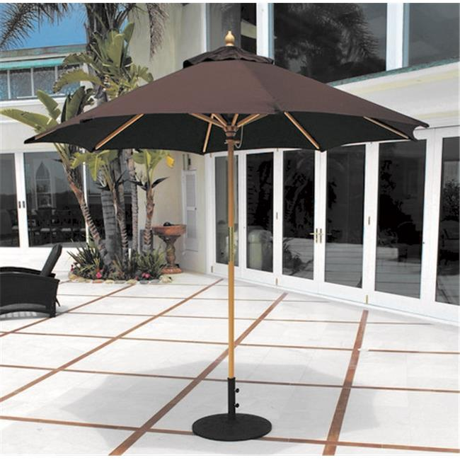 Galtech 9 ft. Light Wood All Purpose Wood Umbrella - Cardinal Red Suncrylic