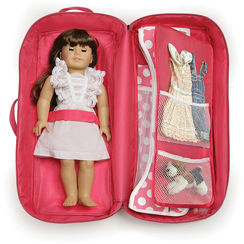 "Badger Basket Doll Travel Case with Bed and Bedding, Fits Most 18"" Dolls & My Life As"
