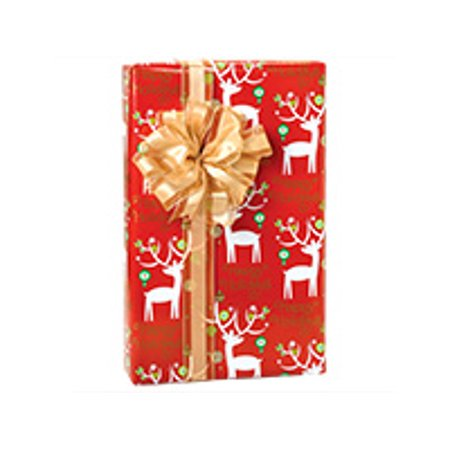 Red with White Reindeer Holiday deer Holiday /Christmas Gift Wrapping Paper 16ft