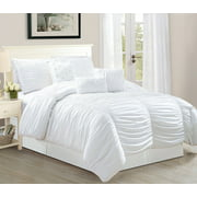 Odessa California King Size 7 Piece Tufted Ruffle Comforter Bedding Set Soft Oversized Bed In