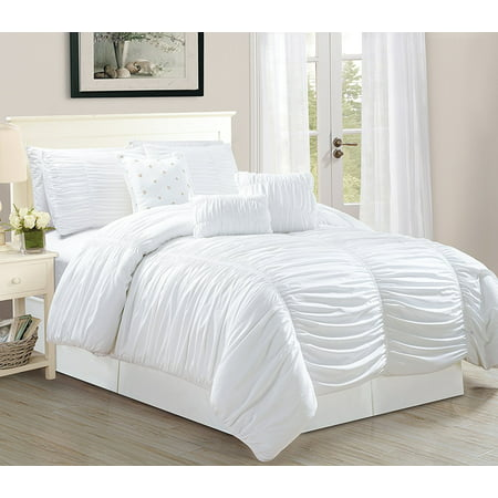 odessa queen size 7 piece tufted ruffle comforter bedding set soft oversized bed in a bag white. Black Bedroom Furniture Sets. Home Design Ideas