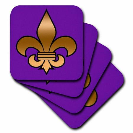 3dRose Large Gold Fleur de lis on a dark purple background , Soft Coasters, set of 4